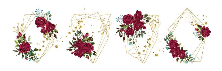 Wedding floral golden geometric triangular frame with bordo flowers roses