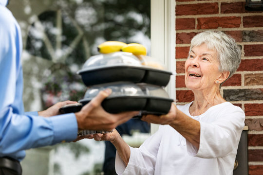 Meal: Senior Woman Happy To Get Meals And Visit