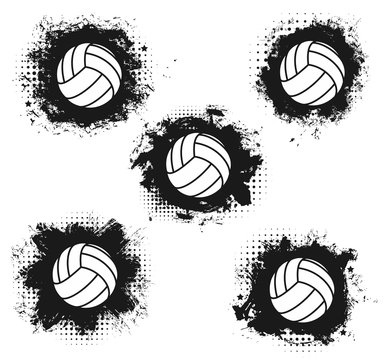 Volleyball sport balls halftone icons
