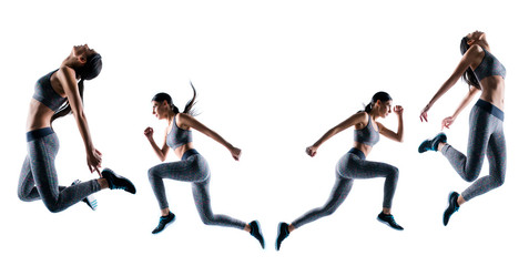 Endurance strength persistence sport. Full length full size portrait sporty purposeful she her sportswoman running jumping illustration  creative design stylized isolated white background