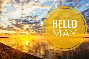 Banner Hello May. Greeting the new month. Hi spring. The text in the picture of the sunset. Evening sunset Sunset.