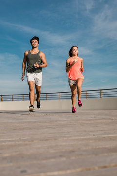 Couple during early morning workout outdoor