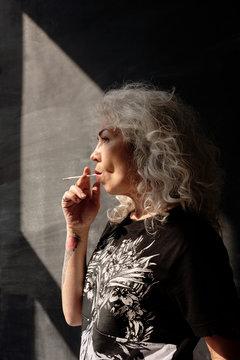 Elderly Woman Smoking Weed
