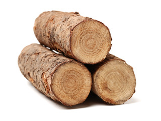 Wall Murals Firewood texture Pine logs on white background