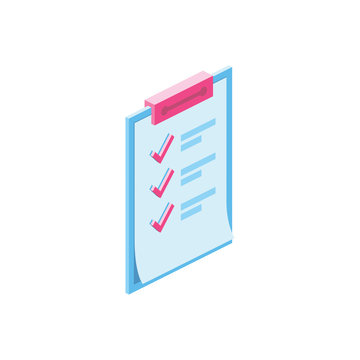 Price Check mark 3d vector icon isometric pink and blue color minimalism illustrate