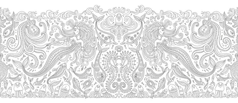 Vector seamless Border black and white pattern. Fantasy mermaid, octopus, fish, sea animal contour thin line drawing. Adults coloring book page, embroidery, wallpaper, textile print, wrapping paper