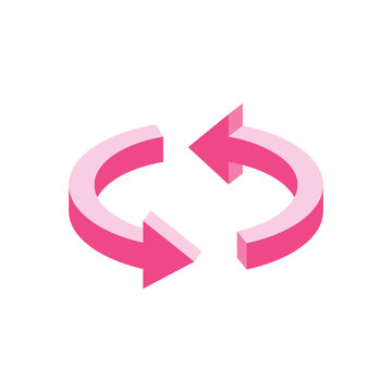 Arrows update 3d vector icon isometric pink and blue colors minimalism illustrate