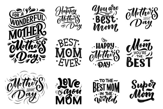 Set of Mother's day lettering for Gift card. Vintage Typography, great design for any purposes. Modern calligraphy banner template. Celebration quote. Handwritten text postcard. Vector illustration