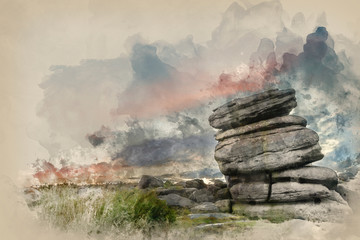 Watercolor painting of Stunning dawn sunrise landscape image of Higger Tor in Summer in Peak District England