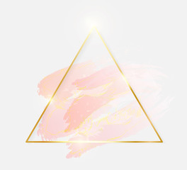 Gold shiny glowing triangle frame with rose pastel brush strokes isolated on white background. Golden luxury line border for invitation, card, sale, fashion, wedding, photo etc. Vector illustration
