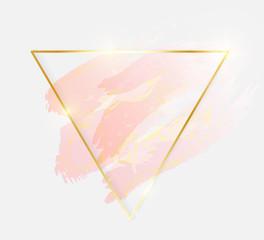 Gold shiny glowing triangle frame with rose pastel brush strokes isolated on white background. Golden luxury line border for invitation, card, sale, fashion, wedding, photo etc. Vector illustration