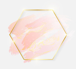 1c6b34d566e4 Gold shiny glowing hexagon frame with rose pastel brush strokes isolated on  white background. Golden
