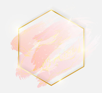 Gold shiny glowing hexagon frame with rose pastel brush strokes isolated on white background. Golden luxury line border for invitation, card, sale, fashion, wedding, photo etc. Vector illustration