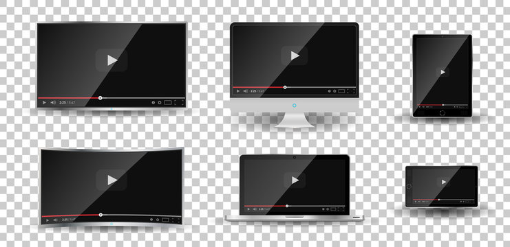 Realistic modern digital devices isolated on transparent background. PC, TV, smartphone, laptop, tablet. Classic video player template on screen. Online video watching conecpt. Vector illustration