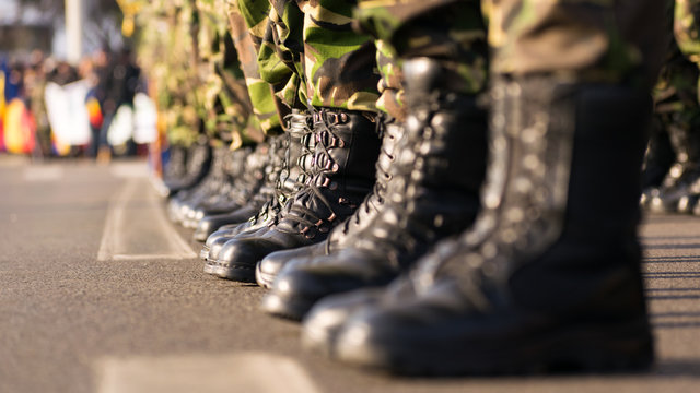 Army boots close up
