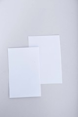 Picture of blank white card. Isolated on the white background.