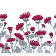 Wall Mural - Thistle. Vector seamless border pattern. Hand drawn cartoon illustration on a white