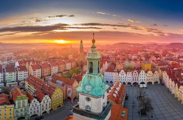 Obraz Marketplace in Jelenia Góra aerial view - fototapety do salonu