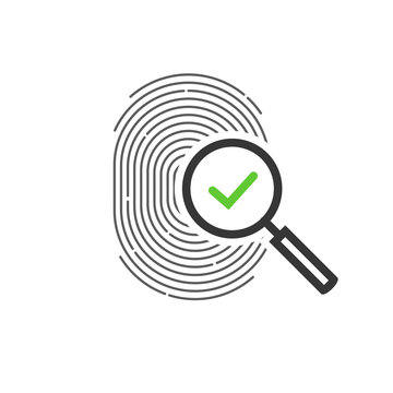 Fingerprint identification check or access approved vector icon, line outline art design of thumb print and magnifying glass with checkmark symbol, accepted identity scan pictogram isolated clipart