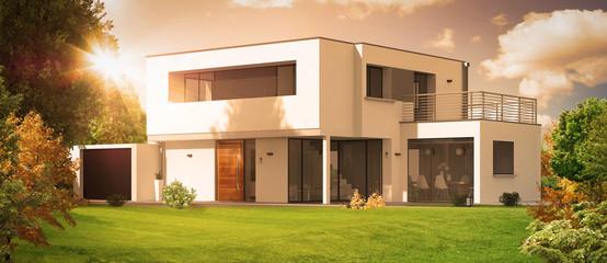 Belle maison d'architecte avec soleil