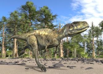 Dinosaur 3d illustration against the background of the Mesozoic Forest
