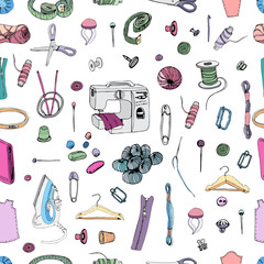 Seamless pattern with   items for sewing. Hand drawn ink and colored sketch of different elements isolated on white background.