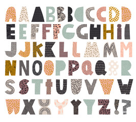 Paper cut alphabet set for collage and quote vector file isolated on white