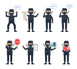 Set of ninja characters posing in different situations. Cheerful ninja talking on phone, thinking, surprised, angry, holding stop sign, loudspeaker, book, scroll. Flat style vector illustration