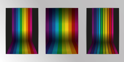 Vector rainbow colored wall with floor. Background abstract geometric pattern design and background A4 Set. Use for modern design, cover, template, decorated, brochure, flyer.