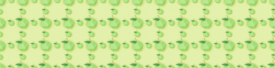 panoramic shot of seamless pattern with handmade cardboard apples isolated on green