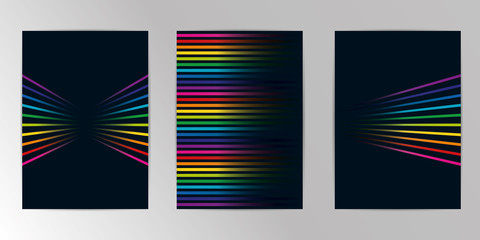 Vector rainbow colored. Background abstract geometric pattern design and background A4 Set. Use for modern design, cover, template, decorated, brochure, flyer.