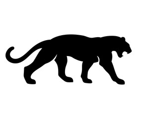 Roaring Black Panther Vector illustration. Isolated on white background