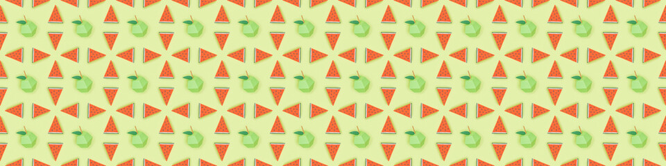panoramic shot of seamless pattern with handmade cardboard apples and watermelon slices isolated on...