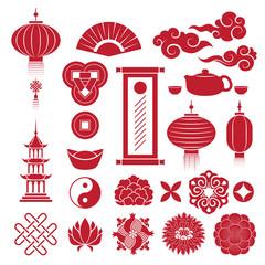 Chinese traditional symbols icons set.