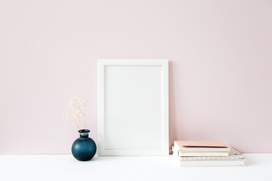 Photo frame with blank copy space. Front view mockup template. Social media, blog, website background.