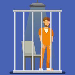 Prisoner behind Metal Bars Vector Illustration