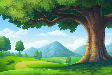 paintings for the hill Trees and paths