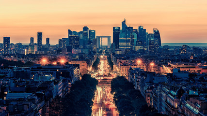 Garden Poster Paris La Defense district viewed from the Arc de Triomphe