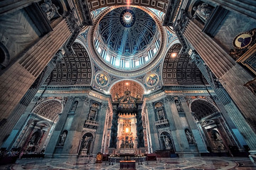 Inside the St Peter's basilica in the city of Vatican