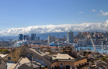 Photo sur Plexiglas Londres GENOA, ITALY, MARCH 22, 2019 - Genoa landscape from the old city to the