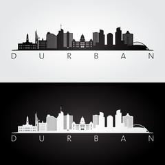 Durban skyline and landmarks silhouette, black and white design, vector illustration.