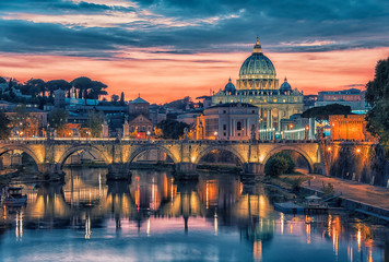 Fototapete - City of Rome at sunset with the view on the Vatican