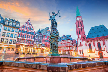 Old town square romerberg in Frankfurt, Germany