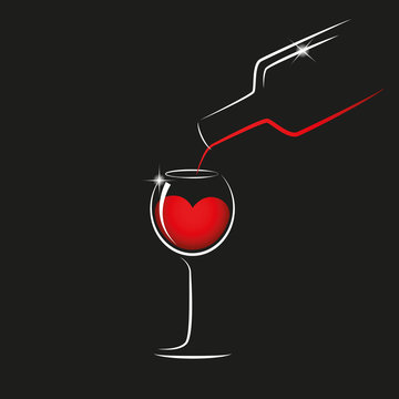 pour red wine from a bottle into a wineglass vector illustration EPS10