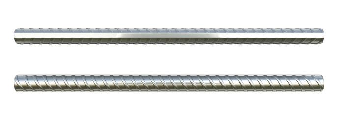 Reinforcement steel bar Steel building armature 3d illustration on white background no shadow