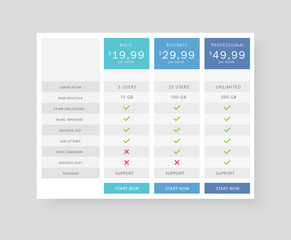 Vector price table tamplate / price list template