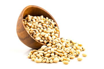 White kidney beans on white background