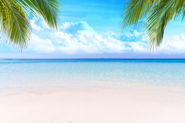 Calm Sea and Blue Sky Background.