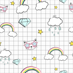 Foto auf Acrylglas Retro sign cute kids seamless pattern