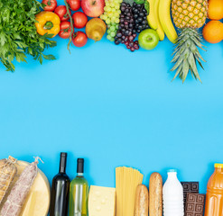Fresh healthy grocery shopping items